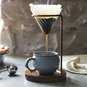 Hearth & Hand Glass & Wood Coffee Pour over copper